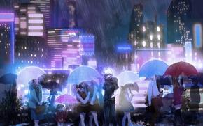 Картинка город, люди, дождь, зонт, аниме, маска, арт, вывески, парень, токийский гуль, tokyo ghoul, kaneki ken