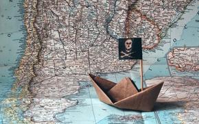 Картинка корабль, карта, оригами
