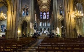 Обои Франция, неф, скамья, Собор Парижской Богоматели, Париж