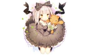 Картинка игрушка, девочка, белый фон, черное платье, бант, смотрит вверх, на коленя, пышная юбка, Akari, Fantasista …