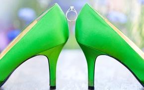 Картинка зеленый, кольцо, туфли, свадьба