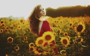 Картинка лето, подсолнухи, девушка в красном