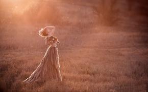 Картинка поле, закат, природа, женщина
