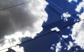 Обои стекло, отражение, облака