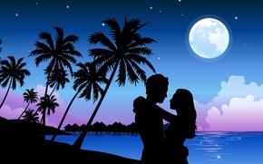 Картинка любовь, луна, Пальмы, пара