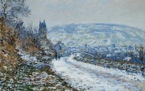 Обои Клод Моне, картина, пейзаж, На Подходе к Деревне Ветёй Зимой