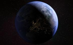 Картинка космос, звезды, поверхность, Земля
