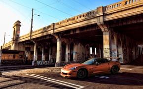 Картинка оранжевый, мост, граффити, поезд, Z06, Corvette, Chevrolet, шевроле, корвет, orange, росписи