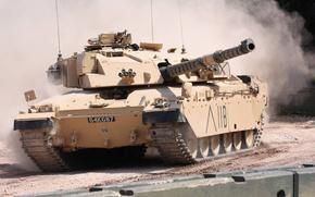 Обои британский, 1980-х годов, основной боевой, пыль, FV4030/4, едет, танк, Challenger, Челленджер