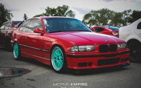 Картинка тюнинг, bmw, бмв, red, wheels, tuning, power, front, face, germany, low, stance, e36