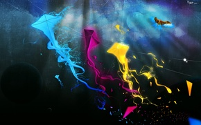 Картинка синий, текстура, воздушный змей