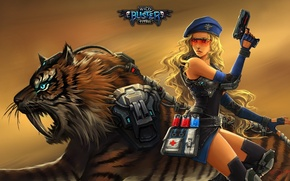 Картинка future, skull, girl, gun, pistol, game, weapon, woman, tiger, police, cross, pretty, animal, beautiful girl, …