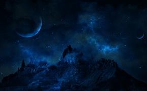 Картинка космос, звезды, планеты, Гора