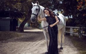 Обои конь, девушка, азиатка