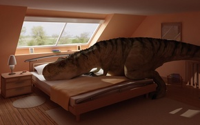 Обои комната, кровать, интерьер, динозавр, отдыхает, спальня