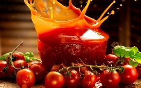 Картинка брызги, ветка, сок, juice, fresh, помидоры, tomatoes