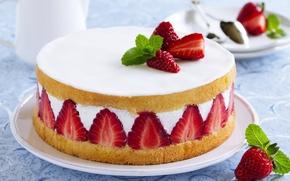 Картинка ягоды, клубника, торт, cake, десерт, выпечка