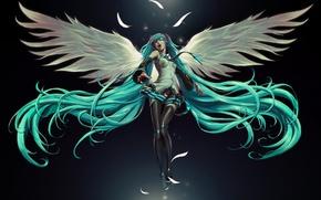 Обои ангел, hatsune miku, девушка
