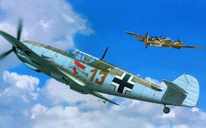 Картинка рисунок, истребители, мессер, Emil, Messerschmitt Bf.109Е, ме-109