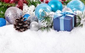 Картинка шарики, снег, подарок, шары, Рождество, Новый год, шишка