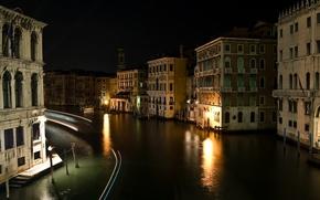 Картинка ночь, улица, здания, дома, Италия, Венеция, канал, Italy, night, street, Venice, Italia, Venezia, Grand canal