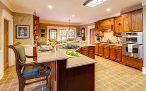 Картинка wooden, interior, home, luxury, kitchen