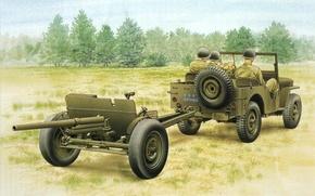 Картинка машина, война, рисунок, солдаты, пушка