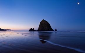 Картинка море, скала, вечер, вода, океан, пейзаж