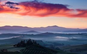 Обои италия, рассвет, поля, пейзаж