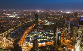 Обои освещение, небоскрёбы, город, огни, столица, Эль-Кувейт, ночь, Kuwait City, Кувейт, Kuwait, здания