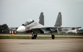 Картинка самолет, истребитель, сверхманевренный, Сухой, ВВС России, многофункциональный, Су-30СМ, MAKS-2013