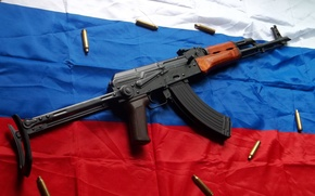 Картинка Автомат Калашникова, триколор, флаг России