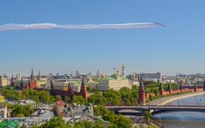 Картинка мост, река, панорама, Москва, Кремль, Россия, самолёты, Москва-река, 9 Мая, Кремлёвская набережная, Большой Каменный мост