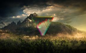 Обои абстракция, линии, треугольник, цвет