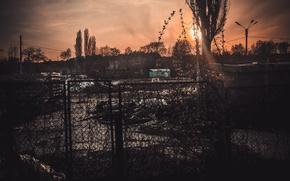 Картинка грусть, солнце, закат, желтый, город, мусор, темный, темные