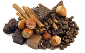 Обои вкусно, орехи, шоколад, еда