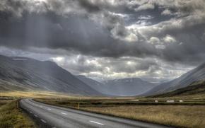 Картинка дорога, небо, лучи, тучи