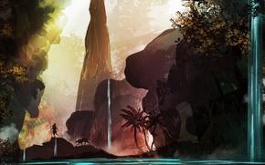 Обои деревья, природа, скалы, животное, водопад, арт