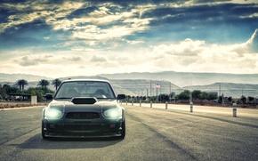 Картинка небо, облака, Subaru, Impreza, чёрная, WRX, black, субару, импреза, STi