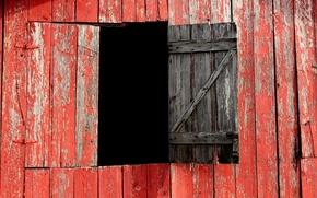 Картинка красный, доски, окно, амбар