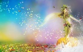 Картинка цветы, spring, арт, природа, времена года, девушка, бабочки, фантастика, весна