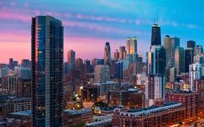 Картинка закат, город, чикаго