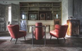 Картинка стол, стулья, радио, двери, телевизор, тени, солнечный свет