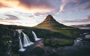 Картинка небо, водопад, Исландия, горв