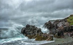Картинка море, вода, брызги, океан, скалы, волна