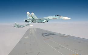 Картинка небо, обои, крыло, истребитель, пилот, полёт, самолёт, 2011, wallpapers, России, ввс, су-27, Su-27, August, Ocean