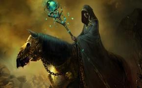 Картинка конь, магия, арт, капюшон, маг, посох, броня, плащ, колдун