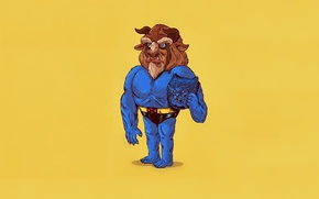 Картинка Art, Blue, Wallpaper, Yellow, Beast, Minimalism, Beauty and The Beast, Humor, Alex Solis, Icons Unmasked