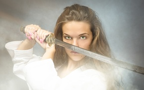 Картинка sword, woman, katana, look, warrior