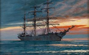 Картинка море, небо, корабль, парусник, Adolf Bock
